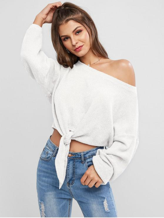 buy ZAFUL Self-tie Oversized Sweater - MILK WHITE M
