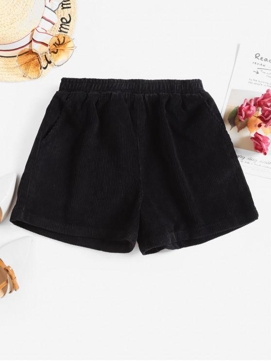 Dos bolsillos altos pantalones cortos de talle pana - Negro XL