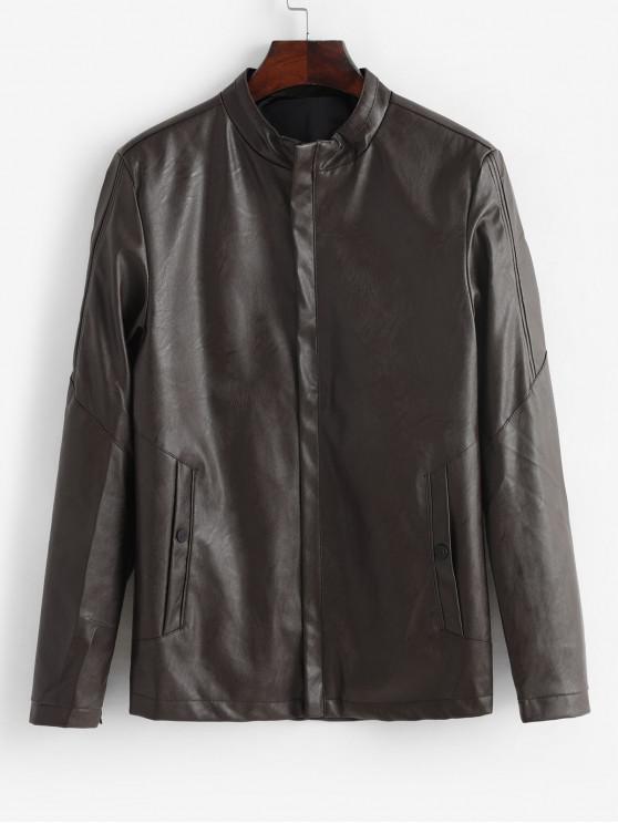 buy Solid Color Zip Up PU Biker Jacket - COFFEE S