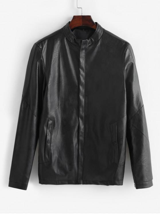 women Solid Color Zip Up PU Biker Jacket - BLACK XS