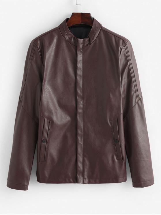 buy Solid Color Zip Up PU Biker Jacket - RED WINE XS