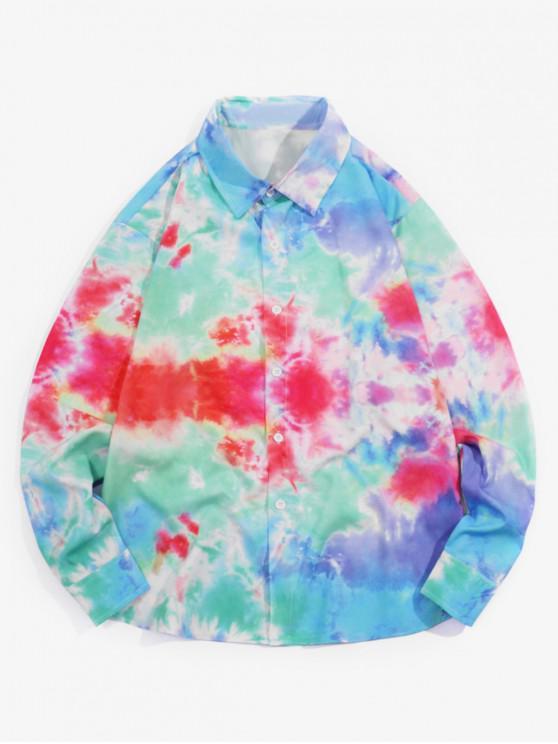 ladies Tie Dye Print Long Sleeves Casual Shirt - MULTI S