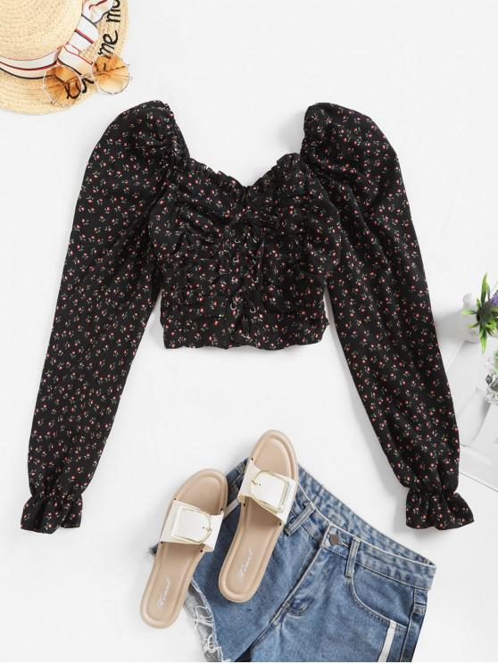 women's Tiny Floral Lace Up Smocked Crop Blouse - BLACK M
