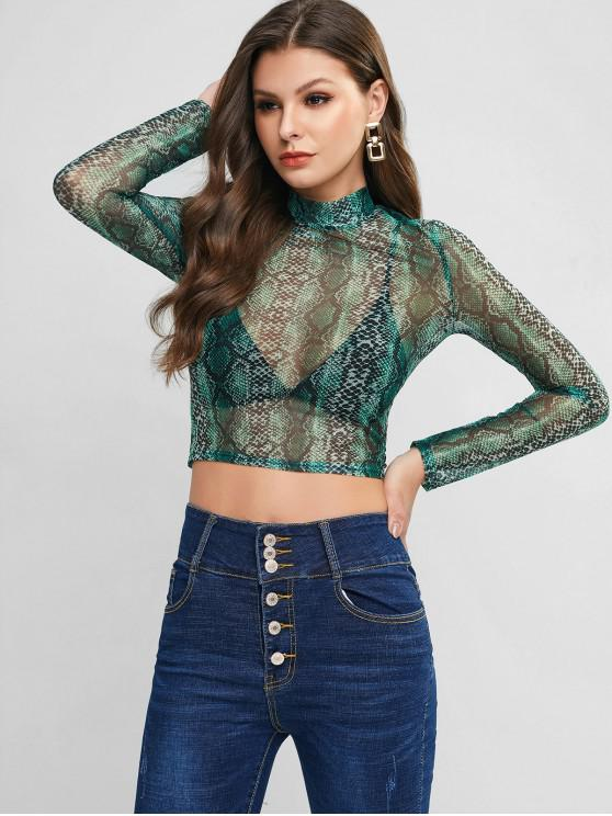 fashion Snake Print Sheer Mesh Cropped Tee - GREEN M