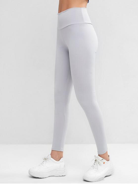 fancy High Waisted Skinny Scrunch Butt Leggings - GRAY S
