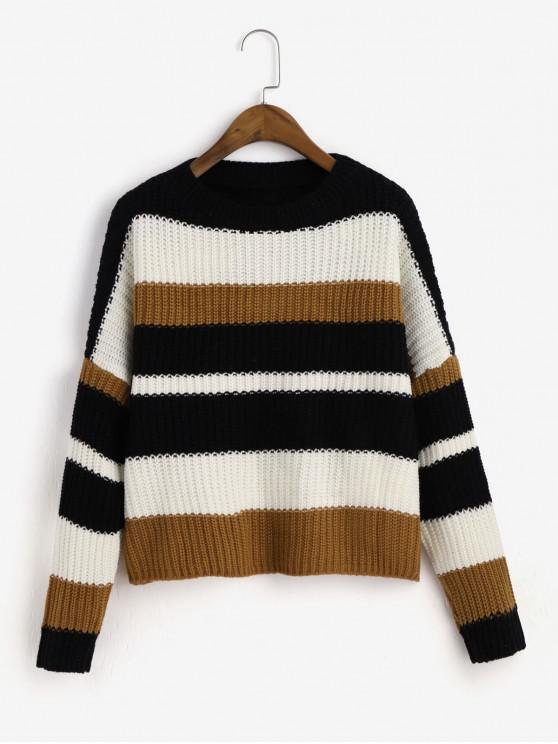affordable Crew Neck Drop Shoulder Colorblock Stripes Sweater - MULTI-A ONE SIZE