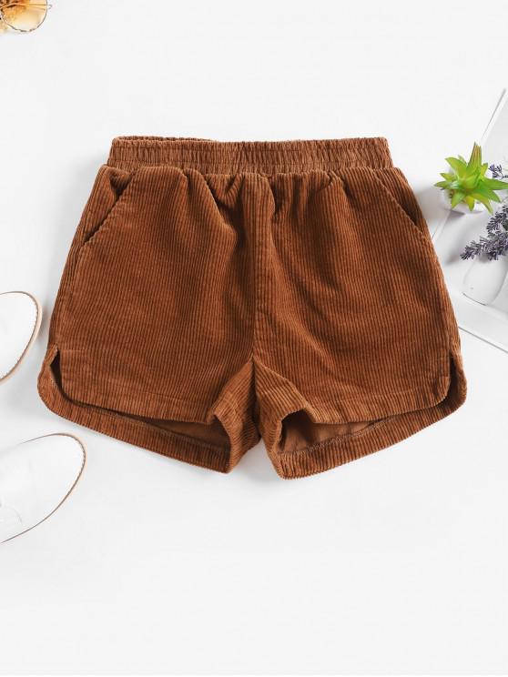 Talle alto Bolsillos Pantalones cortos de pana - Café M