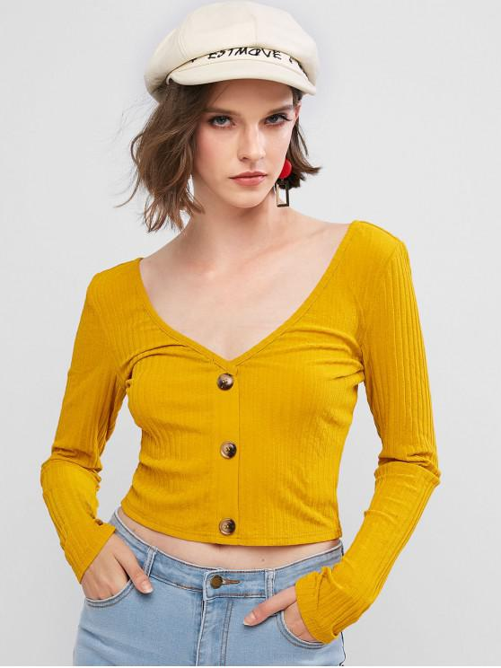lady ZAFUL Mock Button Double V Neck Ribbed Cropped T-shirt - BEE YELLOW L
