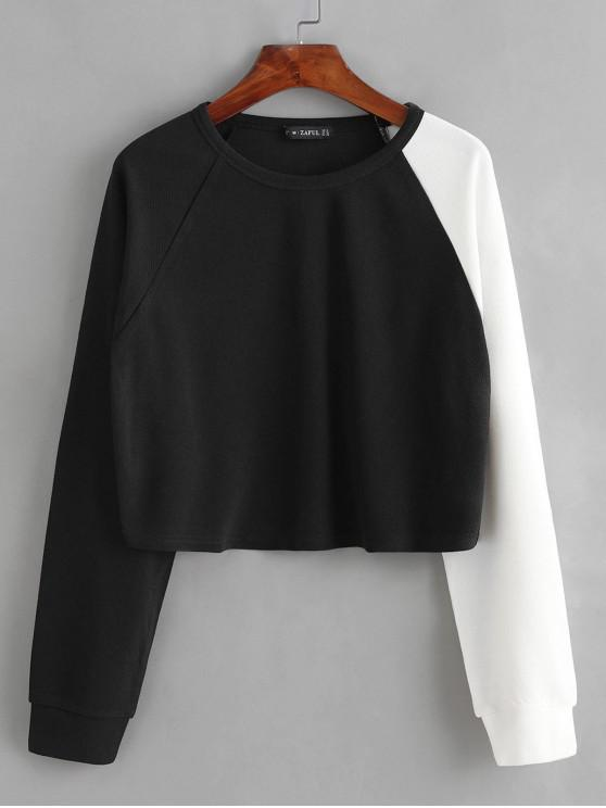 ZAFUL Sweat-shirt Court Bicolore - Noir M