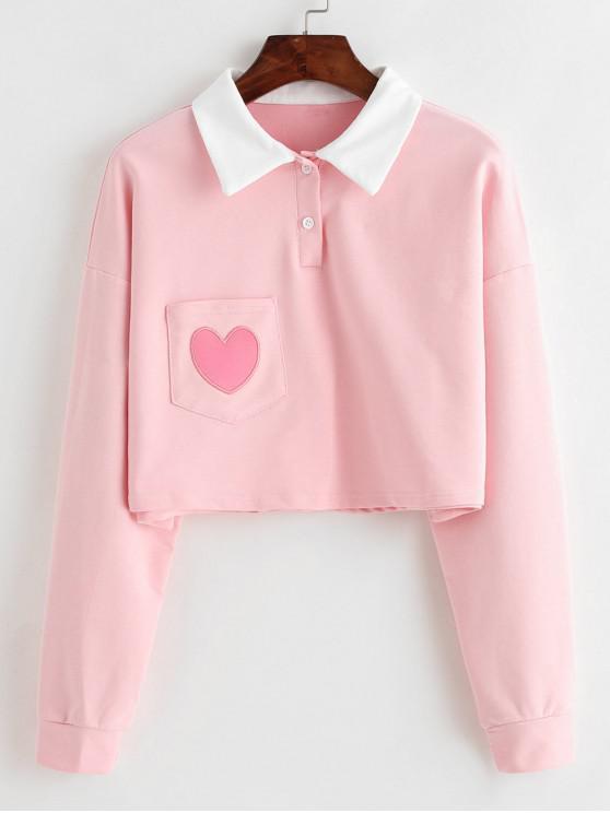 affordable Half Button Heart Pocket Crop Sweatshirt - PINK M