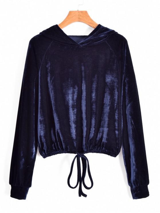 shop ZAFUL Drawstring Raglan Sleeve Velvet Hoodie - CADETBLUE M