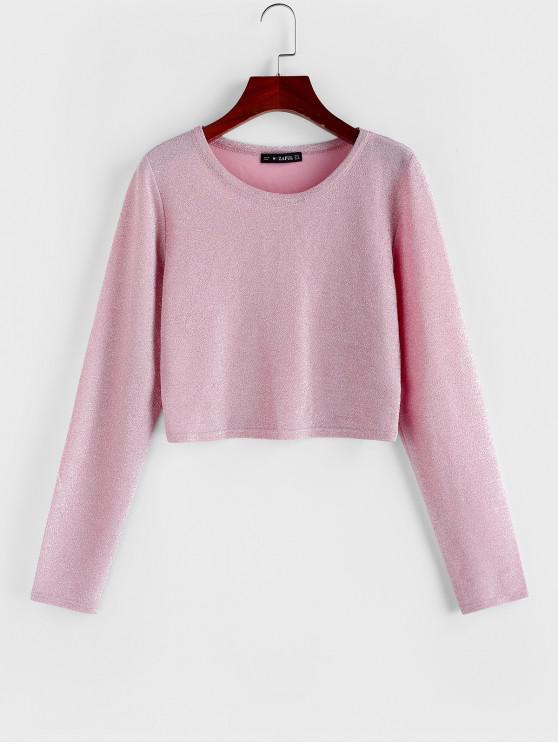 fancy ZAFUL Shimmer Knit Long Sleeve Crop T-shirt - PINK XL