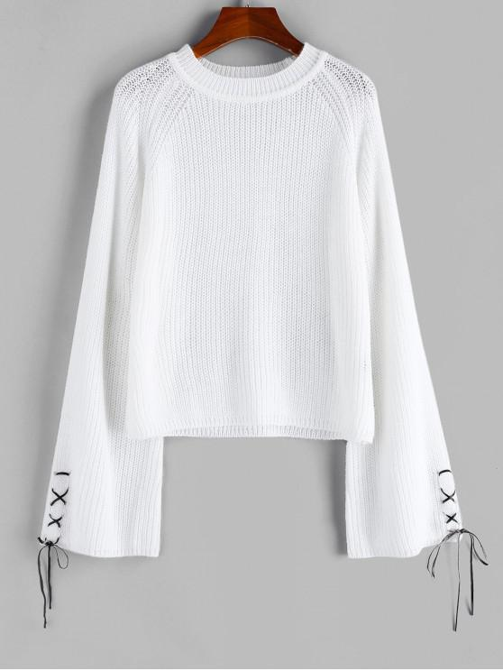 affordable ZAFUL Lace Up Raglan Sleeve Jumper Sweater - WARM WHITE S