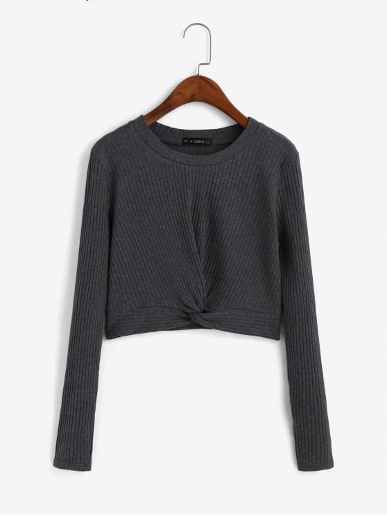 shops Twist Ribbed Crop Knitted Top - DARK GRAY S