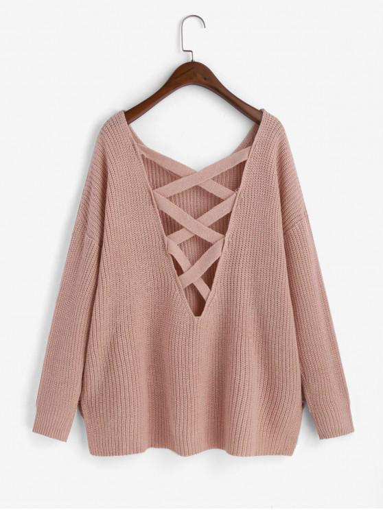 ladies High Low Slit Criss Cross Oversized Drop Shoulder Sweater - PINK ONE SIZE