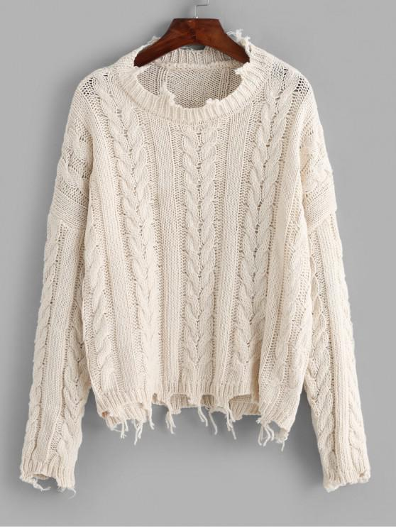 womens ZAFUL X Luna Montana Ripped Cable Knit Solid Chunky Sweater - WARM WHITE ONE SIZE