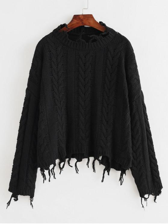 new ZAFUL X Luna Montana Ripped Cable Knit Solid Chunky Sweater - BLACK ONE SIZE