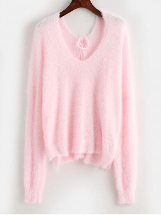 hot ZAFUL X Luna Montana Back Lace Up Side Slit Fluffy Sweater - PINK ONE SIZE