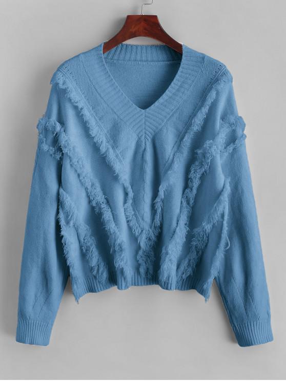 outfit ZAFUL x Yasmine Bateman V Neck Drop Shoulder Fringe Sweater - BLUE L