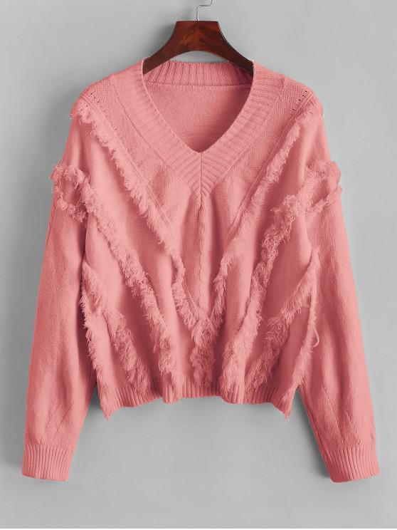 trendy ZAFUL x Yasmine Bateman V Neck Drop Shoulder Fringe Sweater - LIGHT CORAL S