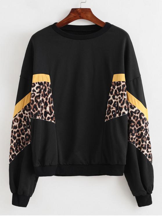 ladies Velvet Leopard Mixed-media Drop Shoulder Sweatshirt - BLACK L