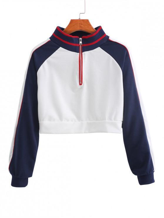 Sweat-shirt Contrasté Zip en Avant à Manches Raglan - Blanc XL
