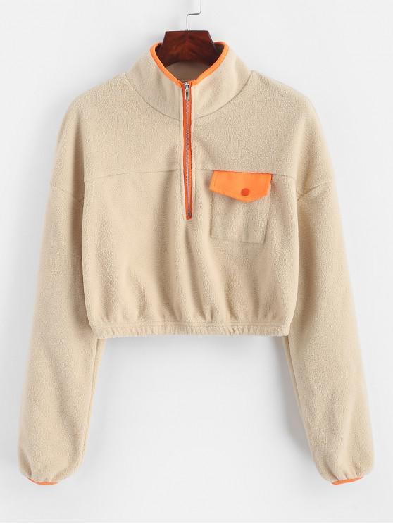 Sweat-shirt Demi-Zip en Laine avec Poche à Rabat - Kaki Léger L