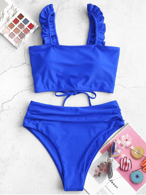 chic ZAFUL Ruffle Lace Up Tummy Control Tankini Swimsuit - BLUEBERRY BLUE L