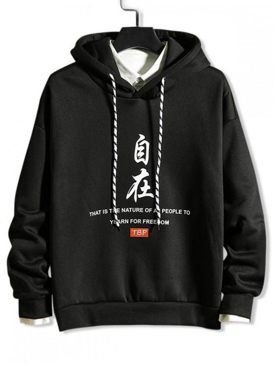 womens Chinese Letter Devil Graphic Print Rib-knit Trim Hoodie - BLACK 3XL