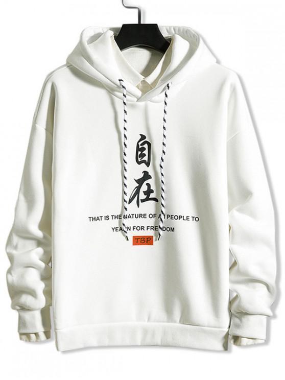 women Chinese Letter Devil Graphic Print Rib-knit Trim Hoodie - WHITE XL