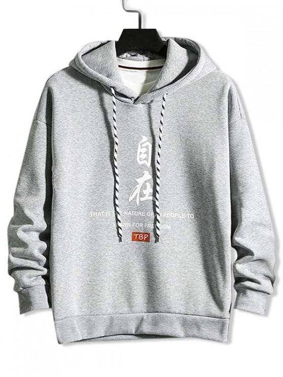 women Chinese Letter Devil Graphic Print Rib-knit Trim Hoodie - LIGHT GRAY L