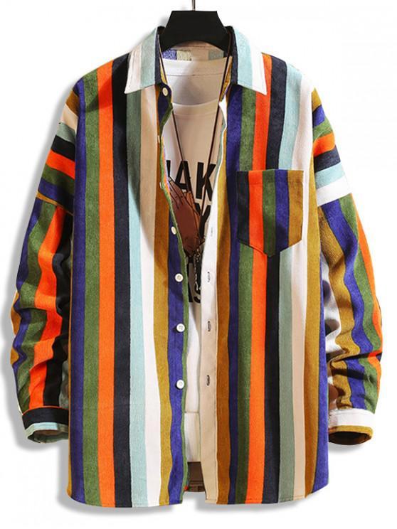 ladies Colorful Striped Pockets Drop Shoulder Corduroy Shirt - MULTI-A XL