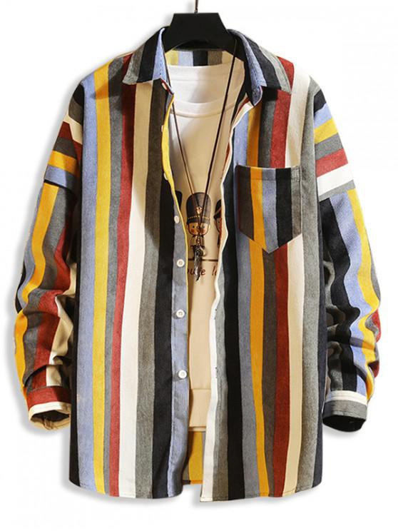 women Colorful Striped Pockets Drop Shoulder Corduroy Shirt - MULTI-B M