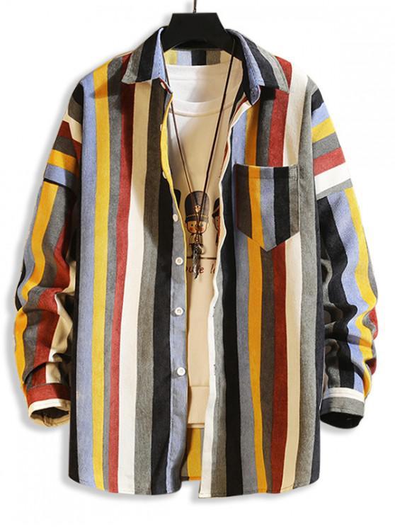 Красочный полосатый принт Карманы Плечо падения Вельвет Рубашка - Многоцветный-Б XL