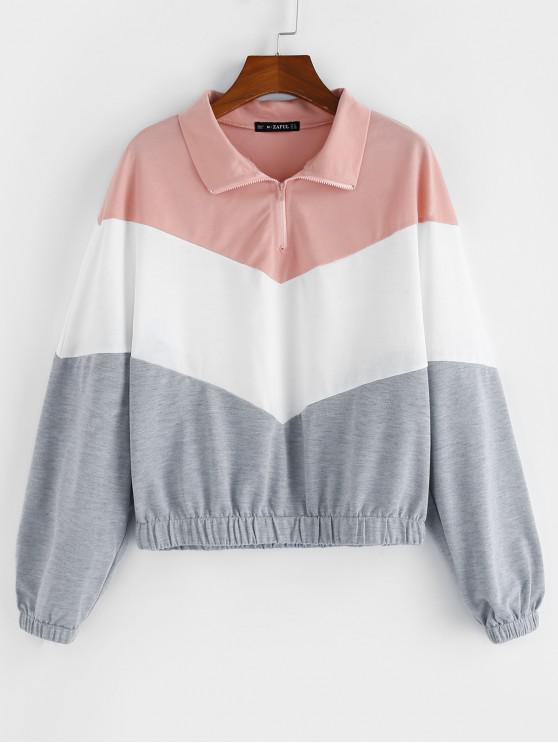 new ZAFUL Zig Zag Colorblock Quarter Zip Sweatshirt - MULTI L