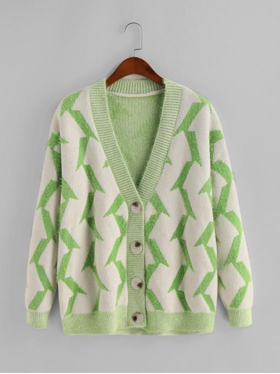 Fuzzy Buton geometric V Neck Cardigan - Multi-C O marime