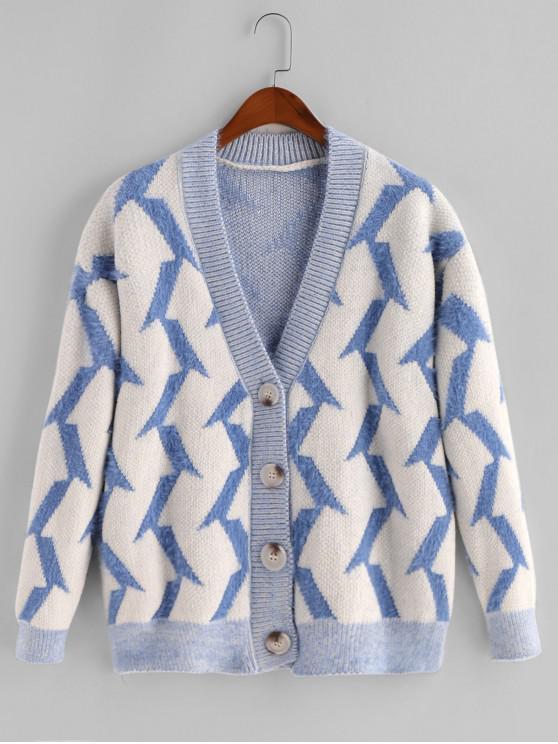 Fuzzy Buton geometric V Neck Cardigan - Multi-B O marime