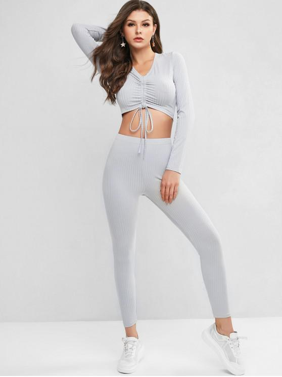 best Cropped Ribbed Cinched Front Two Piece Set - GRAY S