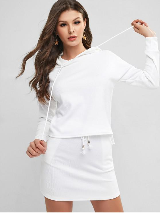 unique Hooded Ribbed Two Piece Dress - WHITE S