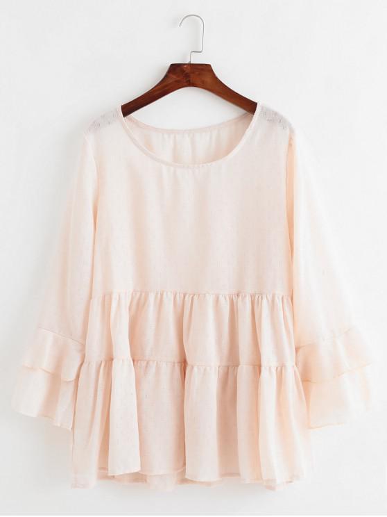 С расклешенными рукавами Длинная Блузка - Розовый L