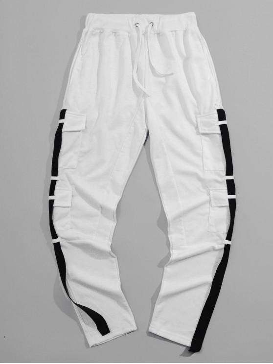 shops Side Flap Pocket Ribbon Spliced Sport Pencil Pants - WHITE L