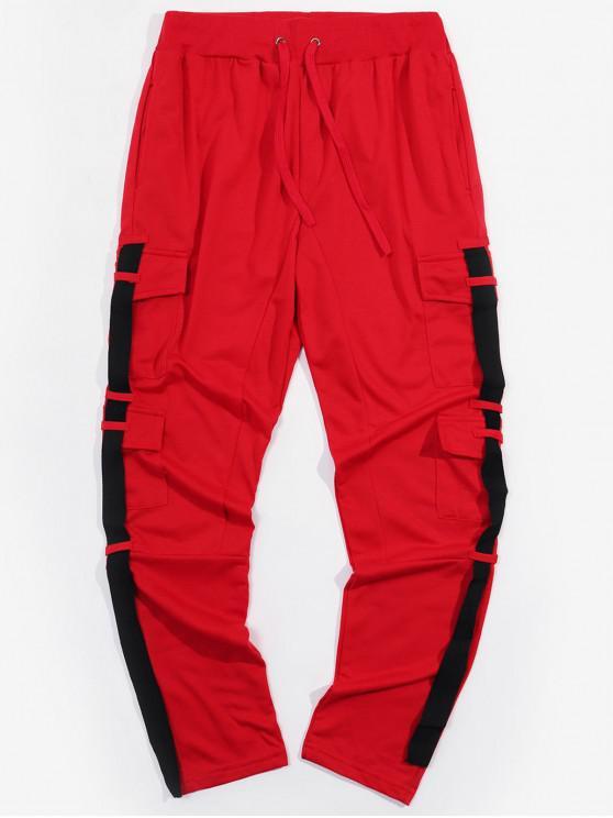 Спортивные Брюки-карандаш Боковой карман С лентой - Красный XL