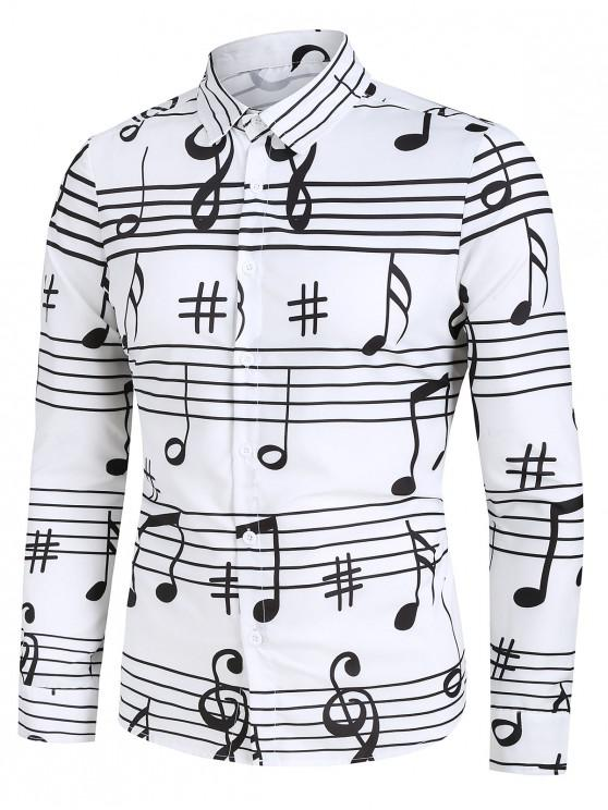 new Long Sleeve Music Notes Print Button Up Festival Shirt - WHITE 3XL