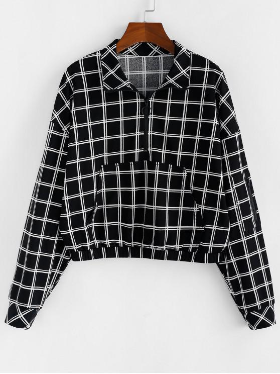 outfit ZAFUL Half-zip Front Pocket Grid Sweatshirt - BLACK S