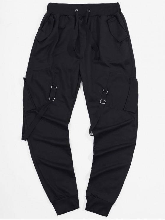 lady Ribbon Pockets Long Elastic Sport Cargo Pants - BLACK L