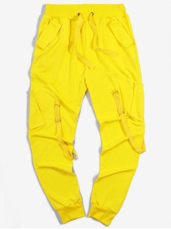 fancy Ribbon Pockets Long Elastic Sport Cargo Pants - YELLOW L