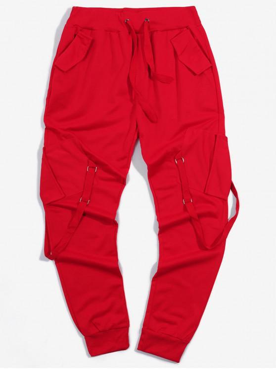 unique Ribbon Pockets Long Elastic Sport Cargo Pants - RED M