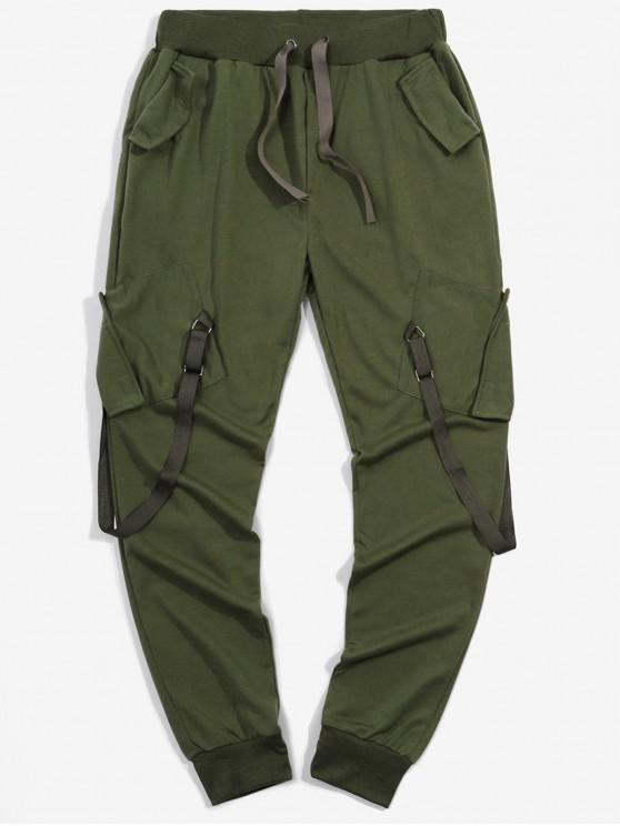جيوب الشريط طويل سروال مطاطا الرياضة عداء ببطء - الجيش الأخضر 2XL