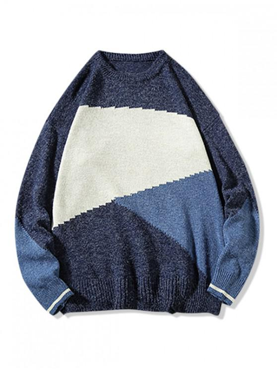 trendy Colorblock Splicing Graphic Pullover Sweater - BLUE 3XL