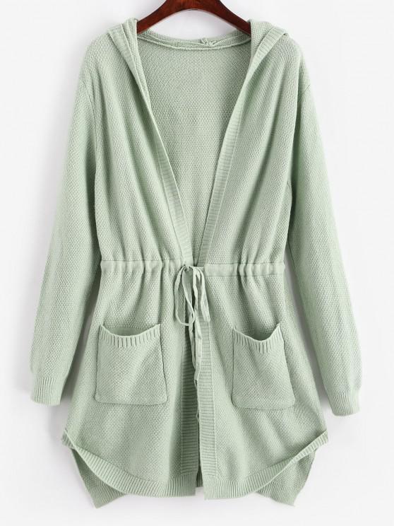 new Longline Hooded Drawstring Pockets Cardigan - GREEN ONE SIZE